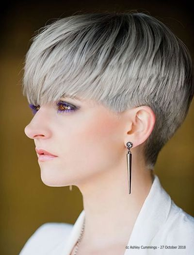 Female model with  short blonde hair